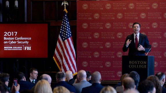 """FBI Director James Comey speaks at a cybersecurity conference in Boston on Wednesday, March 8. Comey warned that Americans <a href=""""http://www.cnn.com/2017/03/08/politics/james-comey-privacy-cybersecurity"""" target=""""_blank"""">should not have expectations of """"absolute privacy.""""</a> But he added that Americans """"have a reasonable expectation of privacy in our homes, in our cars, in our devices. It is a vital part of being an American. The government cannot invade our privacy without good reason, reviewable in court."""""""