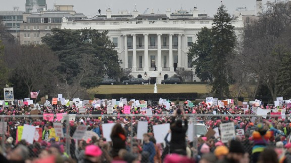 TOPSHOT - Demonstrators protest  near the White House in Washington, DC, for the Women