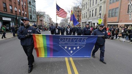 Members of OutVets, a group of gay military veterans, march in 2016.