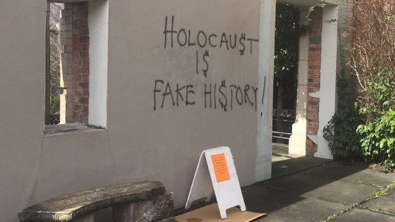 The scene at Temple De Hirsch Sinai in Seattle, which was vandalized with anti-Semitic graffiti.