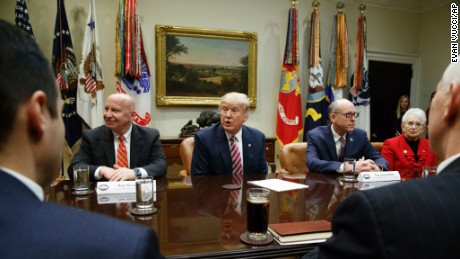 President Donald Trump speaks during a meeting on healthcare, Friday, March 10, 2017, in the Roosevelt Room of the White House in Washington. From left are, House Ways and Means Committee Chairman Rep. Kevin Brady, R-Texas, Trump, House Energy and Commerce Committee Chairman Rep. Greg Walden, R-Org., and House Education and Workforce Committee Chairwoman Rep. Virginia Foxx, R-N.C. (AP Photo/Evan Vucci)