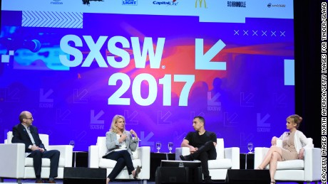 AUSTIN, TX - MARCH 10:  Director of Programs, Transgender Media at GLAAD Nick Adams, GLAAD President and CEO Sarah Kate Ellis, Founder and CEO of Tinder Sean Rad and artist and producer Zackary Drucker speak at Swiping Right on Inclusivity with Tinder & GLAAD @SXSW 2017 at the Austin Convention Center on March 10, 2017 in Austin, Texas.  (Photo by Vivien Killilea/Getty Images for Tinder/GLAAD)