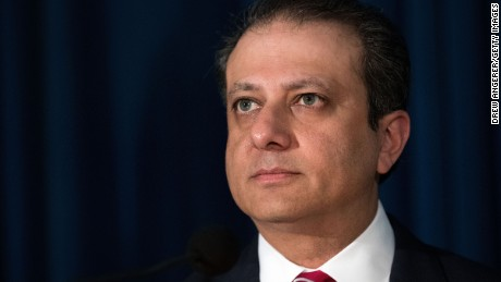 Preet Bharara, then-US Attorney for the Southern District of New York, at the US Attorney's Office for the Southern District of New York in June 2016.