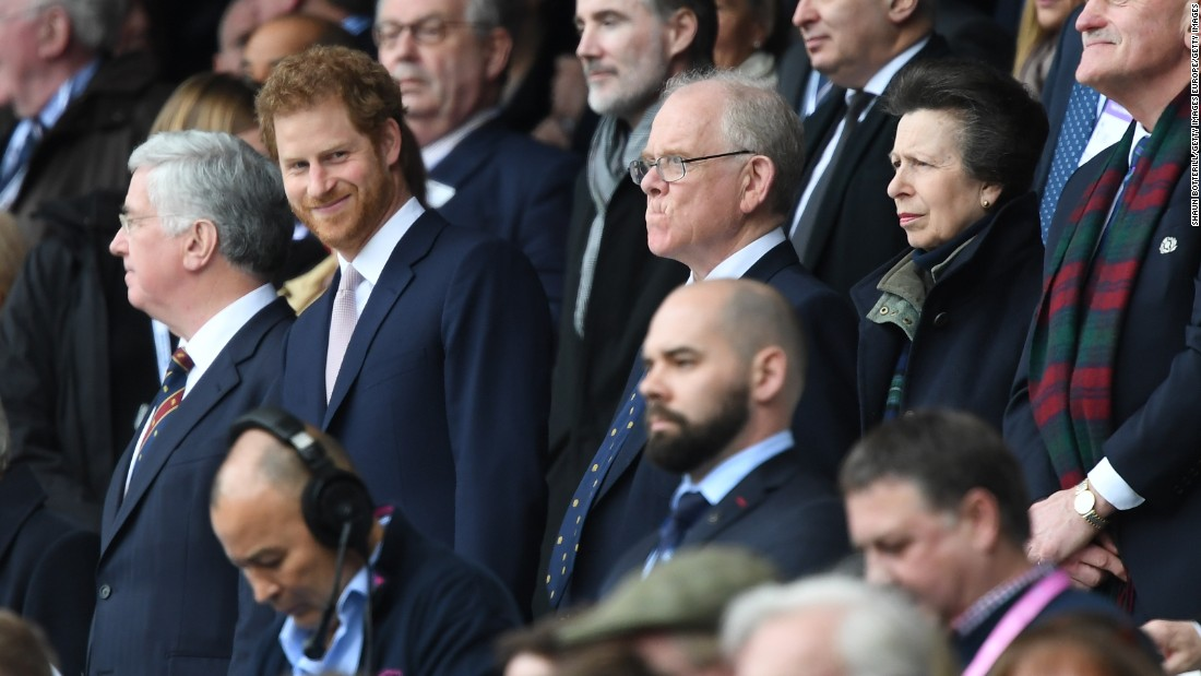 Prince Harry and Princess Anne were at Twickenham to watch the Six Nations match.