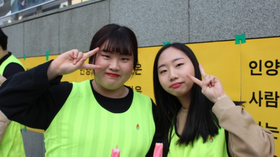 """Today feels like a festival, everyone is happy,"" said Mun Ha-neul (left) and Park Hyun-jin (right), both 17, who were celebrating Park's ouster."