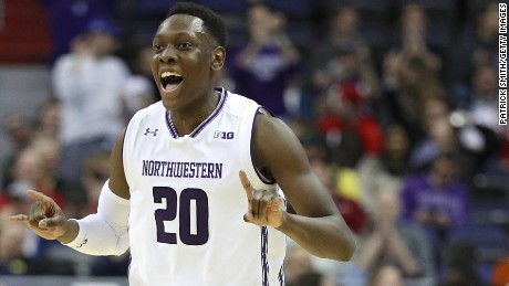 Northwestern junior guard Scottie Lindsey celebrates during the Wildcats' game against Rutgers in the second round of the Big Ten Basketball tournament at the Verizon Center in Washington, DC.