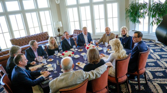 President Donald Trump has a working lunch with staff and cabinet members and significant others at his golf course, Trump National on March 11, 2017 in Potomac Falls, Virginia.