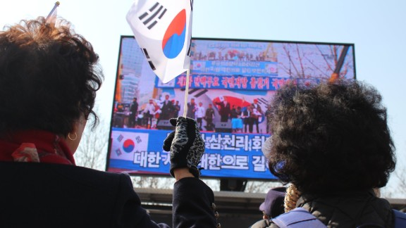 Supporters of South Korean President Park Geun-hye said they were worried her impeachment would hurt the country's security.