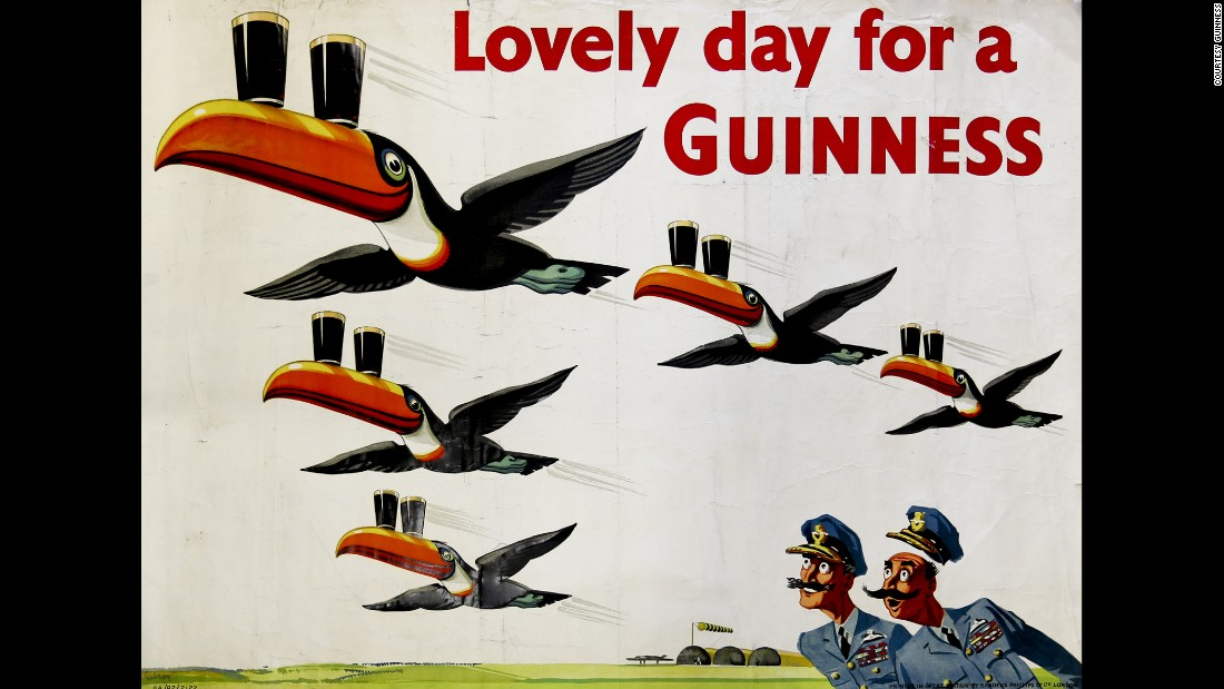 Vintage Guinness Beer Toucan Fabric Block