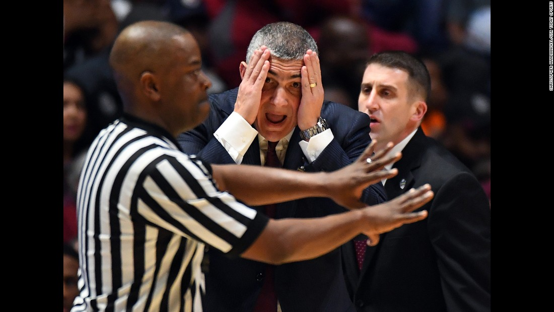 South Carolina head coach Frank Martin reacts to a call during an SEC Tournament game against Alabama on Friday, March 10.