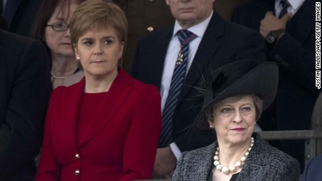 Sturgeon and May at a service honoring British armed forces earlier this month.