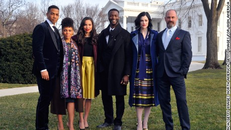 "Alano Miller, Amirah Vann, Jurnee Smollett-Bell, Aldis Hodge, Jessica de Gouw and Chris Meloni appear at a screening and panel discussion of WGN America's ""Underground"" at The White House on February 22, 2016 in Washington, DC."