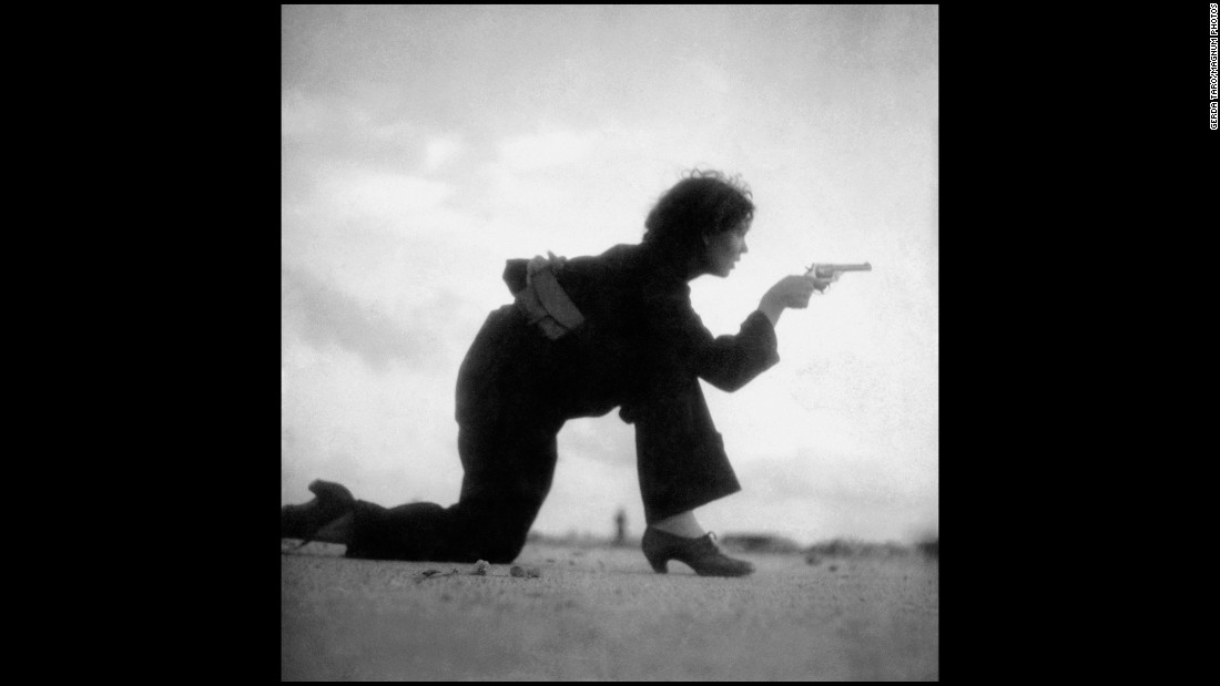Taro took this photo of a Republican militiawoman training on a beach outside Barcelona, Spain, in August 1936. Taro and Capa were embedded with forces who opposed Nationalist Gen. Francisco Franco.