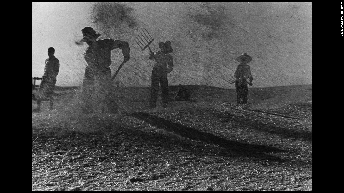 Agricultural workers throw grain into the air so it can be cleansed by the wind in Spain's Aragon region.