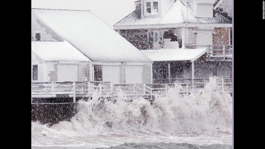 Waves pound the seawall in Scituate, Massachusetts, on March 14.