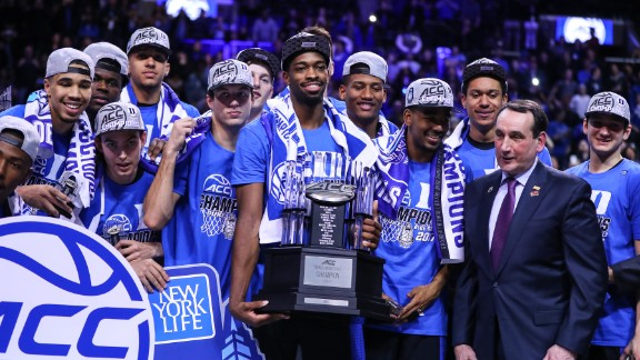 BROOKLYN, NY - MARCH 11:   The Duke Blue Devils  celebrate after winning the 2017 New York Life ACC Tournament Final round game between the Notre Dame Fighting Irish and the Duke Blue Devils on March 11, 2017, at the Barclays Center in Brooklyn,NY.  (Photo by Rich Graessle/Icon Sportswire via Getty Images)