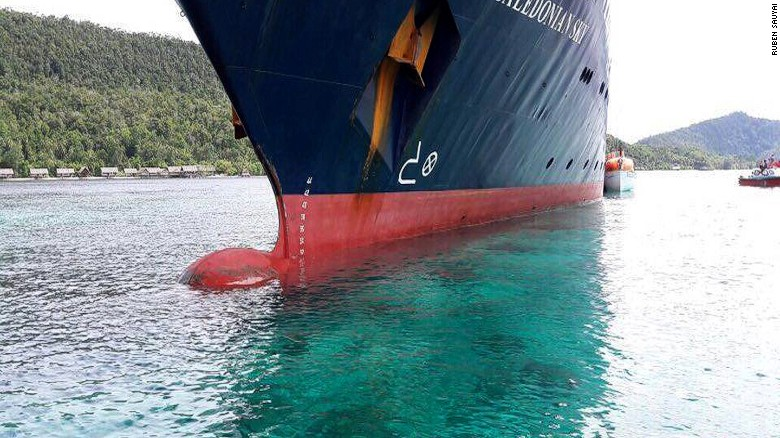 Cruise ship plows into pristine coral reef