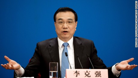 China's Premier Li Keqiang speaks during his annual press conference.