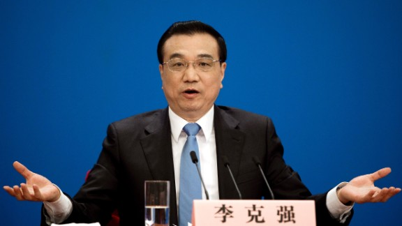 China's Premier Li Keqiang speaks after the closing ceremony of the annual session of China's legislature, the National People's Congress (NPC), in Beijing on March 15.