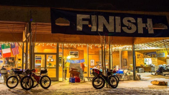 The finish line is the same place where the race started, the Happy Trails Kennels, owned by Martin Buser, a winner of the famous Iditarod dog sled race.