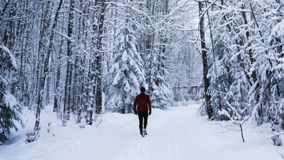During the day, the view is 50 shades of white as snow covers the lakes, black spruce trees and the trail.