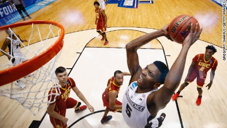 DAYTON, OH - MARCH 15:  Rodney Bullock #5 of the Providence Friars dunks the ball in the first half against the USC Trojans during the First Four game in the 2017 NCAA Men's Basketball Tournament at UD Arena on March 15, 2017 in Dayton, Ohio.  (Photo by Gregory Shamus/Getty Images)