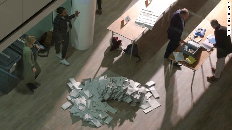 Ballot papers are piled up waiting to be sorted and hand counted at the mayor's office in The Hague on Wednesday.