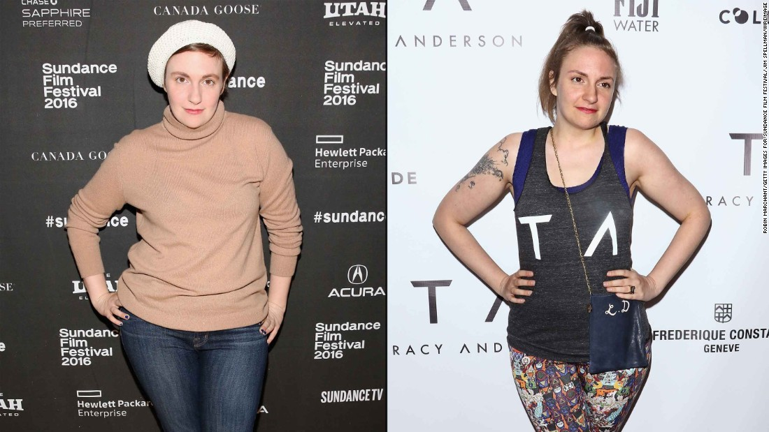 """Girls"" star Lena Dunham showed off a slimmer physique in March on the red carpet for the opening of celebrity fitness trainer Tracy Anderson's new studio in New York City."