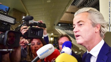 PVV leader Geert Wilders speaks to the press on election night in The Hague, on March 15.