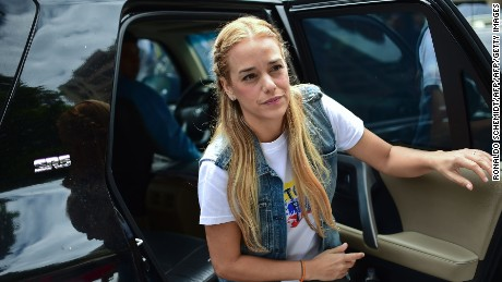 Lilian Tintori, wife of Venezuela's jailed opposition leader Leopoldo Lopez, is pictured after offering a press conference to announce a campaign to donate medical supplies and diapers, in Caracas, on May 31, 2016. Venezuela, where inflation and anger are rising, is short of drugs, and to buy some from abroad people need dollars -- but those are in desperately short supply too. / AFP / RONALDO SCHEMIDT        (Photo credit should read RONALDO SCHEMIDT/AFP/Getty Images)