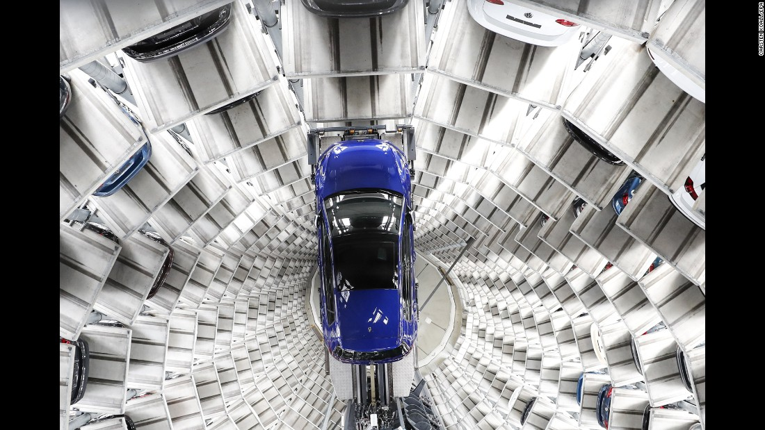 A Volkswagen car is stored at a plant in Wolfsburg, Germany, on Tuesday, March 14.