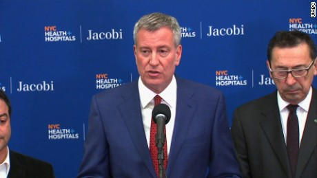 Mayor Bill de Blasio addresses reporters about a fatal accident in the Bronx, New York