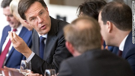 Dutch Prime Minister Mark Rutte (L) is seen during a meeting between main parties leaders and the Chairman of the Senate in The Hague, on March 16, 2017, one day after the general elections.  / AFP PHOTO / ANP / Jerry Lampen / Netherlands OUT        (Photo credit should read JERRY LAMPEN/AFP/Getty Images)