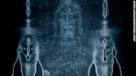 "This picture taken on February 20, 2012 shows a  Facsimile of  ""The Shroud of Turin"" at the Cathedral of Malaga.  AFP PHOTO/ JORGE GUERRERO. (Photo credit should read Jorge Guerrero/AFP/Getty Images)"