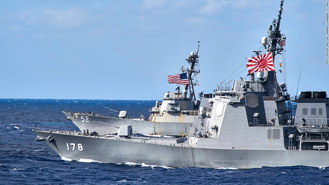 Japan Maritime Self-Defense Force guided-missile destroyer JS Ashigara, front, and the US Arleigh Burke-class guided-missile destroyer USS Barry patrol in the Philippine Sea. The US alliance is a key to Japan military strength.