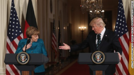 WASHINGTON, DC - MARCH 17:  U.S. President Donald Trump (R) holds a joint press conference with German Chancellor Angela Merkel in the East Room of the White House on March 17, 2017 in Washington, DC. The two leaders discussed strengthening NATO, fighting the Islamic State group, the ongoing conflict in Ukraine and held a roundtable discussion with German business leaders during their first face-to-face meeting.  (Photo by Justin Sullivan/Getty Images)