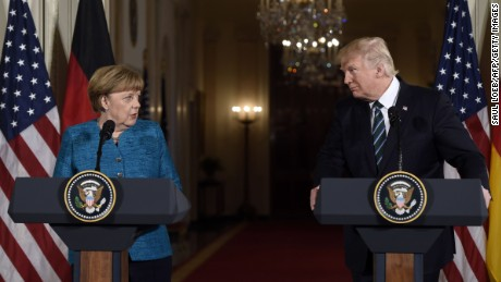 Trump and Merkel held a joint press conference Friday.
