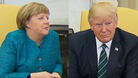 Trump's awkward visit with Merkel