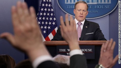 WASHINGTON, DC - MARCH 10:  White House Press Secretary Sean Spicer takes questions from reporters during his daily press briefing in the Brady Press Briefing Room at the White House March 10, 2017 in Washington, DC. Spicer answered a variety of questions about the repeal and replace of Obamacare and other subjects.  (Photo by Chip Somodevilla/Getty Images)