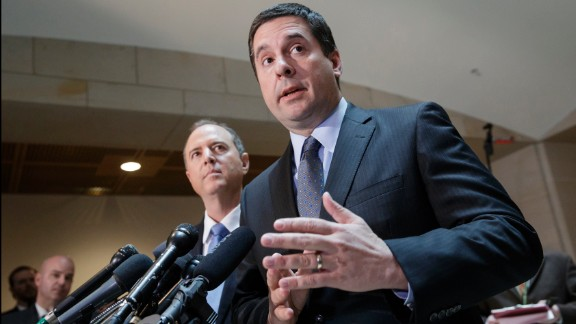 House Intelligence Committee Chairman Rep. Devin Nunes, R-Calif., right, accompanied by the committee