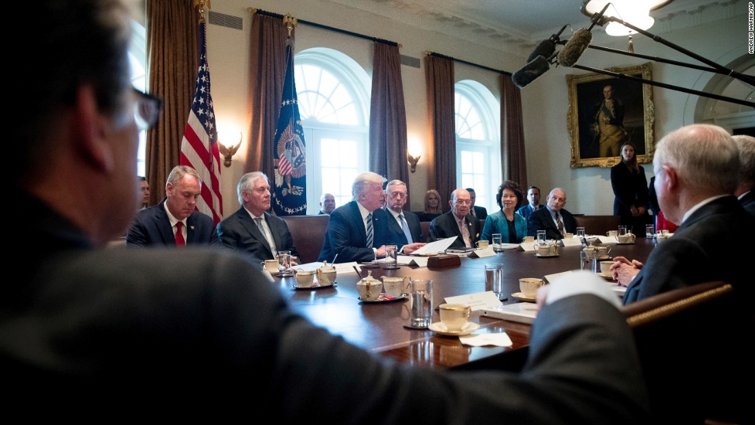 "President Trump speaks at the first meeting of his Cabinet on Monday, March 13. <a href=""http://www.cnn.com/2017/03/13/politics/donald-trump-obamacare-repeal-gop-plan/"" target=""_blank"">See Trump's nominees and their confirmation hearings</a>"