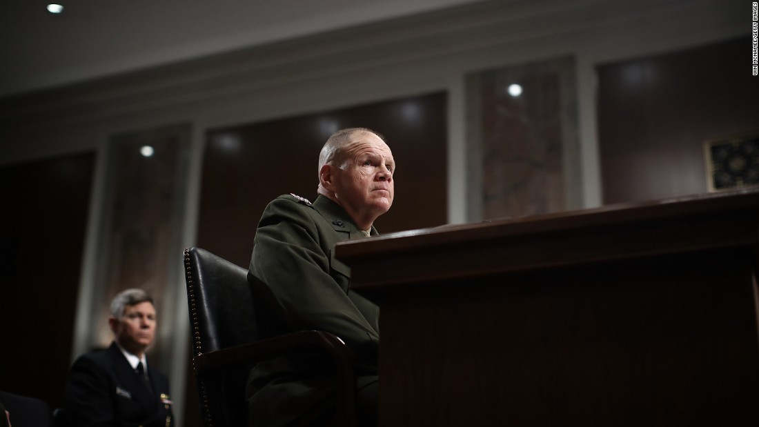 "Gen. Robert Neller, commandant of the US Marine Corps, testifies before the Senate Armed Services Committee on Tuesday, March 14. Neller <a href=""http://www.cnn.com/2017/03/14/politics/marines-nude-photo-scandal-hearing/"" target=""_blank"">vowed to prosecute those responsible</a> for posting photos of naked female service members on social media. But he said investigators are having trouble identifying individual users, stopping the spread of spinoff websites linking to the images and determining the proper recourse under the law to punish those responsible."