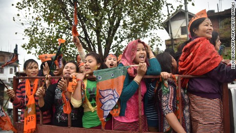 Supporters of Modi's BJP celebrate in Uttar Pradesh.
