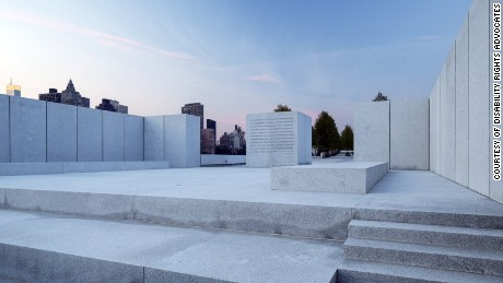 Franklin D. Roosevelt Four Freedoms Park is located on the southern tip of Roosevelt Island in New York City.