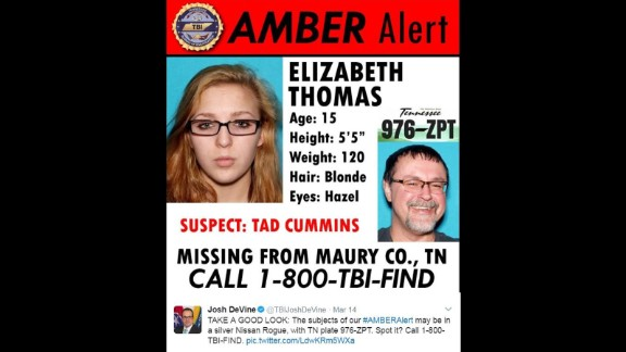 Tennessee authorities issued this Amber Alert on March 14.