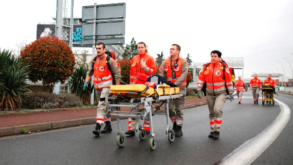 French Red Cross workers arrive at Paris