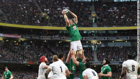Man of the match Peter O'Mahony wins lineout ball during Ireland's Six Nations win over England.
