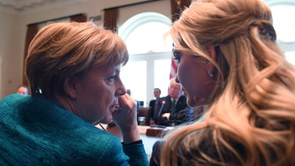 """German Chancellor Angela Merkel, left, speaks with Ivanka Trump during a roundtable discussion at the White House on Friday, March 17. In Merkel's first US visit during the Trump administration, she and the President discussed issues that included NATO, ISIS and the ongoing conflict in Ukraine. Donald Trump repeatedly bashed Merkel on the campaign trail and accused her of """"ruining Germany,"""" citing the nation's policies of allowing refugees in. But he said his meeting with the Chancellor was """"very good."""""""
