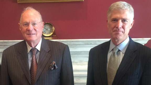 Justice Anthony Kennedy and Judge Neil Gorsuch. (Obtained by CNN)