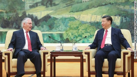 Chinese President Xi Jinping (R) meets with US Secretary of State Rex Tillerson (L) at the Great Hall of the People on March 19, 2017 in Beijing, China.